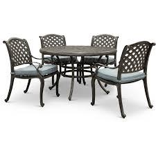gray metal 5 piece round patio dining