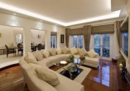 Interior Design Large Living Room White Striped High Arm Sofa Different Color Round Oak Tables Large