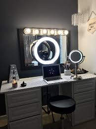 Light Up Makeup Vanity White Vanity With Ring Light For Make Up Hair Videos