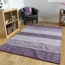 Purple Living Room Rugs Modern Stripe Reversible Cotton Rugs Blue Grey Beige Purple Living