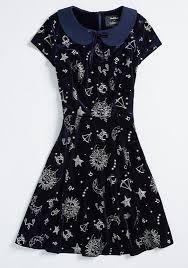 Modcloth X Collectif Applied Astrology Velvet Skater Dress