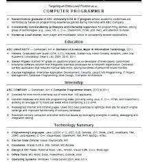 Sample Computer Programmer Resume Programmer Resume Sample Englishor Com