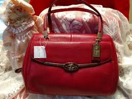 NWT Coach Madison Madeline E W Satchel Shoulder Bag in Scarlet Red Leather  25166