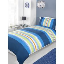 single atlantic fun bright blue green striped cotton duvet quilt cover