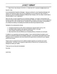 Outstanding Operations Manager Cover Letter Examples Templates With