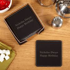 personalized faux leather drink coasters set of 6