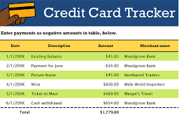 Credit Card Tracker Excel Credit Card Tracker Excel
