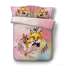 pink flowers fox bedding twin full king cal king size duvet cover for boys girls bedspreads and comforter sets 3 pillow covers bedlinens red white and blue
