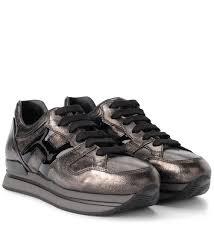 hogan h222 idark silver leather and black patent leather sneaker grigio