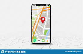 Smartphone With Map And Red Pinpoint On Screen Isolated On