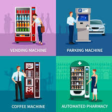 Parking Vending Machine Fascinating Vending Machine Concept Icons Set With Parking And Coffee Machines