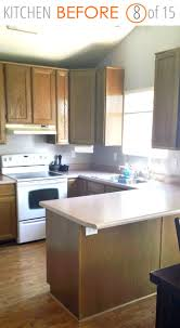 small kitchen remodel before with dated cabinets paint