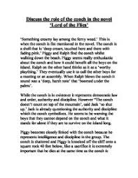 discuss the role of the conch in the novel lord of the flies  page 1 zoom in
