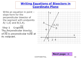 22 writing equations of bisectors in coordinate plane write an equation in point slope form for the perpendicular