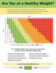 Bmi Status Chart Bmi Chart Eat Smart Move More Nc