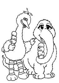 Small Picture Big Bird and Mammoth Eating Ice Cream in Sesame Street Coloring