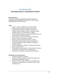 Software Quality Assurance Tester Job Description Template Word