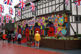 upon entering busch gardens williamsburg regular guests can tell something is going on british flags hang over the sidewalks 60 s british rock has