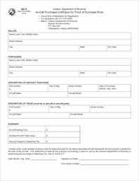Proof Of Purchase Template Form Ae 5 Fillable Aircraft Purchasers Affidavit For Proof Of
