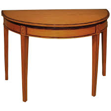 antique sheraton period half round satinwood card table for