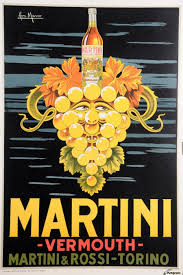 canvas print on martini and rossi wall art with original vintage italian poster advertising martini vermouth by pan