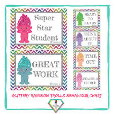 Star Student Chart Teacher Resource Rainbow Chevron Trolls Behaviour Chart