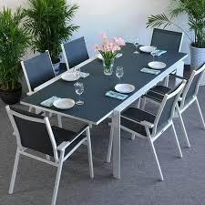 janine white grey 6 seater set 160 220cm rectangular aluminium glass dining extension table