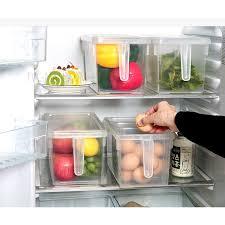 refrigerator organizer. food grade plastic refrigerator organizer container with lid, handle and 3 smaller bins - transparent