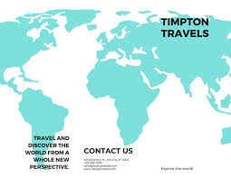 Turquoise Map Travel Trifold Brochure Templates By Canva