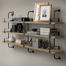 Rustic wall-mounted shelves