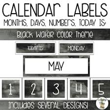 Black Classroom Calendar Pocket Chart Pocket Chart Calendar Labels Black Watercolor Theme