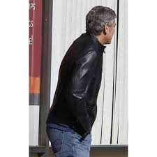 george clooney biker style leather jacket
