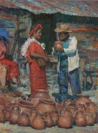 colotenago pottery market oil 24 x 18