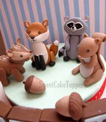 Cake Decorating Animal Figures Ready Made Woodland Animal Cake Toppers Fox Raccoon Deer