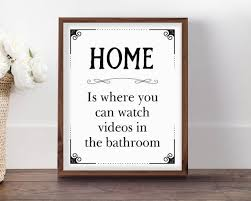 Bathroom sign for home Pinterest Image Clusterbankco Funny Bathroom Sign Home Is Where You Can Watch Videos In The Etsy