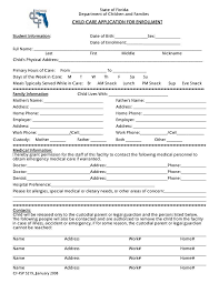 Emergency Form For Daycare 9 Daycare Application Form Templates Free Pdf Doc Format