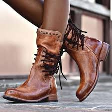 <b>2019</b> Women's Motorcycle Boots <b>Vintage Fashion Rivet</b> Chunky ...