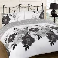 Pollyanna Black Floral White Reversible Double Duvet Set Bed Quilt ... & Picture 3 of 4 ... Adamdwight.com