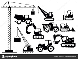 ショベル建設重機のマシン アイコンのベクトル図を設定します