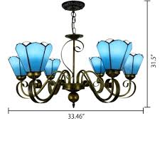 fl shade 6 light inverted tiffany stained glass chandelier in white blue