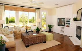 Beige Sofa Set With Wicker Coffee Table For Cozy Family Room Ideas With  White Fireplace Color