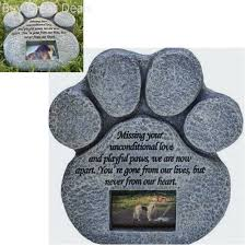 details about cat stone grave paws marker name headstone garden pet memorial paw dog print