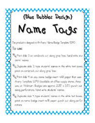 Avery Templates 5390 Editable Nametags 5390 Blue Bubbles Design