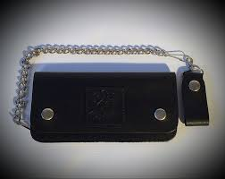 black biker leather wallet with chain cross rodace hotrod and motorcycle lifestyle apparel
