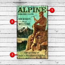 alpine hiking club custom personalized wood sign