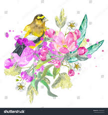 yellow bird and flowers watercolor painting for print and design