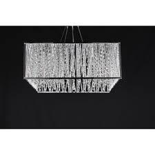 melenki rectangular crystal ceiling pendant light in chrome finish cfh310221 05 ch