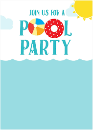 Pool Party Invitations Templates Free Clipart Images Gallery
