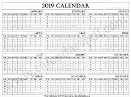 Week Number Calendar 2019 Calendar With Weeks 2019 Calendar 2019 Yearly