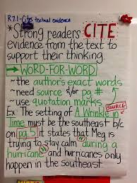 Anchor Charts Enchanting Life In 4444B R44444444 Citing Textual Evidence 4444th Grade